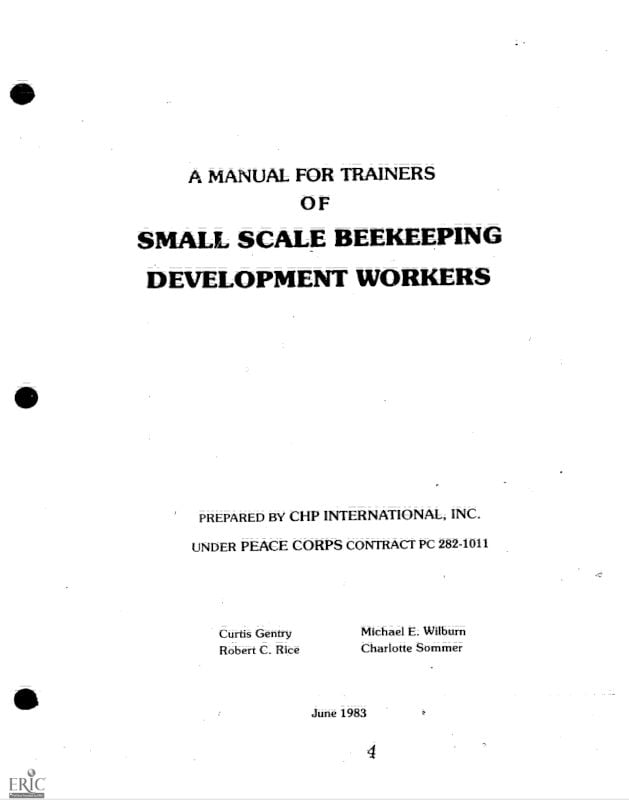 A Manual for Trainers of Small Scale Beekeeping Development Workers